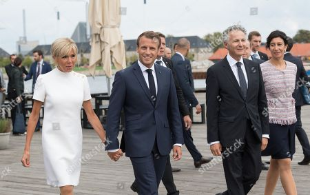 Brigitte Trogneux, Emmanuel Macron and Francois Zimeray at Copenhagen Theater.