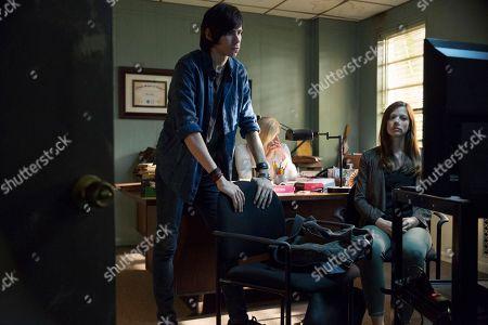 Stock Image of Owen Teague as Nolan Rayburn, Molly Price as Mia, Hani Avital as Beth Mackey