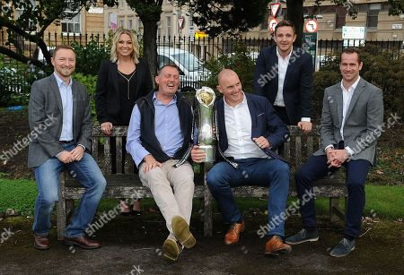 (L to R) Rory Hamilton-TV commentator, Emma Dodds-TV Commentator, Doddie Weir, Alastair Kellock, Rory Lawson and Chris Paterson - ex Scotland internationalists. Premier Sports launch of its Pro14 TV coverage for season 2018/19, Glasgow, Scotland, Tuesday 25th August 2018. ***Please credit: ©Fotosport/David Gibson***