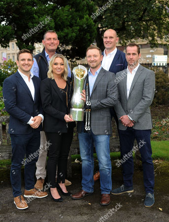 (L to R) Rory Lawson, Doddie Weir, Emma Dodds-TV commentator, Rory Hamilton-TV Commentator, Alastair Kellock,  and Chris Paterson - ex Scotland internationalists. Premier Sports launch of its Pro14 TV coverage for season 2018/19, Glasgow, Scotland, Tuesday 25th August 2018. ***Please credit: ©Fotosport/David Gibson***