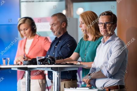 (L-R) Christian Democrats party leader Ebba Buch Thor, The Liberals' Jan Bjorklund, Centre Party leader Annie Loof and Moderate Party leader Ulf Kristersson look on during a radio broadcasted party leader debate at Kulturhuset in Stockholm, Sweden, 29 August 2018. General elections will be held in Sweden on 09 September.