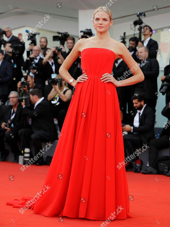 Actress Gabriella Wilde poses for photographers at the premiere of the film 'First Man' and the opening Ceremony of the 75th edition of the Venice Film Festival in Venice