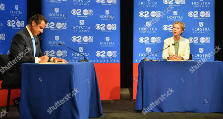 Democratic candidate for New York governor Cynthia Nixon (R) speaks at the Democratic gubernatorial primary debate as New York Governor Andrew M. Cuomo (L) at Hofstra University in Hempstead, New York, USA, 29 August 2018