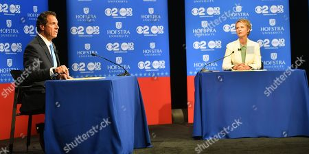 New York Governor Andrew M. Cuomo (L) speaks at the Democratic gubernatorial primary debate as Democratic candidate for New York governor Cynthia Nixon listens at Hofstra University in Hempstead, New York, USA, 29 August 2018