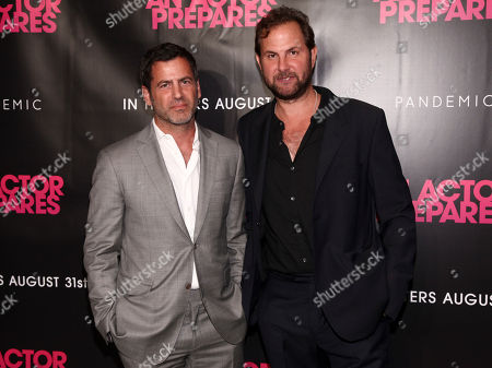 """David Rosenthal, Steve Clark. David Rosenthal, left, and Steve Clark, right, attend the premiere """"An Actor Prepares"""" at Metrograph, in New York"""