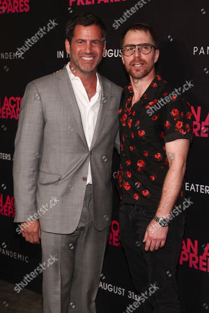 """David Rosenthal, Sam Rockwell. David Rosenthal, left, and Sam Rockwell, right, attend the premiere """"An Actor Prepares"""" at Metrograph, in New York"""