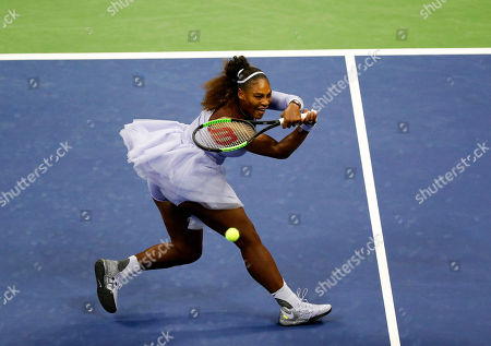 Serena Williams of the United States hits a return to Carina Witthoeft of Germany during the third day of the US Open Tennis Championships the USTA National Tennis Center in Flushing Meadows, New York, USA, 29 August 2018. The US Open runs from 27 August through 09 September.