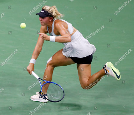 Carina Witthoeft of Germany hits a return to Serena Williams of the United States during the third day of the US Open Tennis Championships the USTA National Tennis Center in Flushing Meadows, New York, USA, 29 August 2018. The US Open runs from 27 August through 09 September.