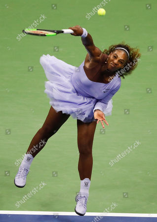 Serena Williams of the United States serves  to Carina Witthoeft of Germany during the third day of the US Open Tennis Championships the USTA National Tennis Center in Flushing Meadows, New York, USA, 29 August 2018. The US Open runs from 27 August through 09 September.