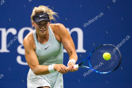 Carina Witthoeft of Germany hits a return to Serena Williams during the third day of the US Open Tennis Championships at the USTA National Tennis Center in Flushing Meadows, New York, USA, 29 August 2018. The US Open runs from 27 August through 09 September.