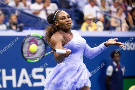 Serena Williams of the USA hits a return to Carina Witthoeft of Germany during the third day of the US Open Tennis Championships at the USTA National Tennis Center in Flushing Meadows, New York, USA, 29 August 2018. The US Open runs from 27 August through 09 September.