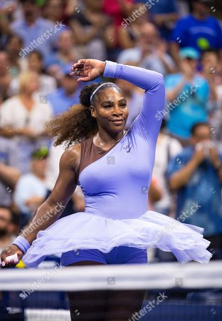 Serena Williams of the USA celebrates her win against Carina Witthoeft of Germany during the third day of the US Open Tennis Championships at the USTA National Tennis Center in Flushing Meadows, New York, USA, 29 August 2018. The US Open runs from 27 August through 09 September.