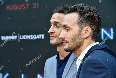 "Josh Baker, Jonathan Baker. Directors Josh Baker, right, and Jonathan Baker arrive at the Los Angeles premiere of ""Kin"" at ArcLight Hollywood on"