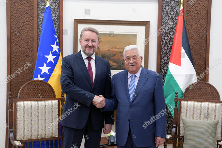 Palestinian President Mahmoud Abbas meets with Chairman of the Tripartite Presidency of Bosnia and Herzegovina Bakir Izetbegovic, in the West Bank city of Ramallah