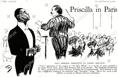 Paul Robeson (1898-1976) American Bass-baritone Singer and Actor Pictured in an Illustration by 'Tor' at A Recital of Negro Spirituals at the Salle Pleyel Paris. He Was Accompanied by the Orchestre Symphonique Conductged by Pierre Monteux. . Illustration by Tor in the Tatler, 26 February 1930