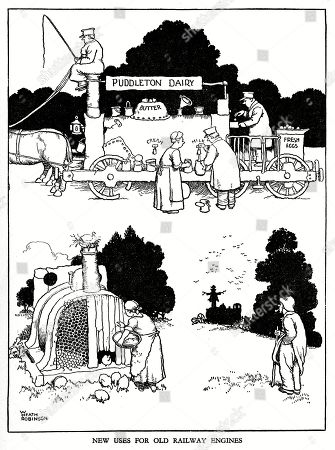 Illustration Railway Ribaldry by W Heath Robinson -- New Uses For Old Railway Engines. . Illustration by William Heath Robinson in Railway Ribaldry, 1935, P63