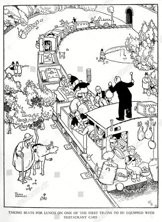 Illustration Railway Ribaldry by W Heath Robinson -- Taking Seats For Lunch On One of the First Trains to Be Equipped with Restaurant Cars. . Illustration by William Heath Robinson in Railway Ribaldry, 1935, P73