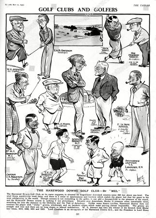 The Harewood Downs Golf Club Pictured by Caricaturist Mel and Featuring W. E. Stewart J. A. B. Davidson Jock Watt Sir Herbert Wright Dr. H. J. Henderson M.c. A. E. White Norman Birkett Ernest Gedge F. Le Neve Foster Captain J. A. Ferguson T.e.h. Birley Pat Wynne and Paymaster Captain V. A. Lawford R.n. . Illustration by Mel in the Tatler, 15 May 1935