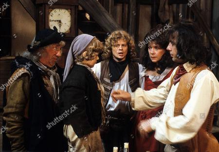 'Dick Turpin' - 'Sentence of Death' - Alfie Bass as Isaac Rag, Aaron Burchall as the boy, Michael Deeks as Swiftnick, Annabelle Lee as Poll Maggot and Richard O'Sullivan as Dick Turpin.