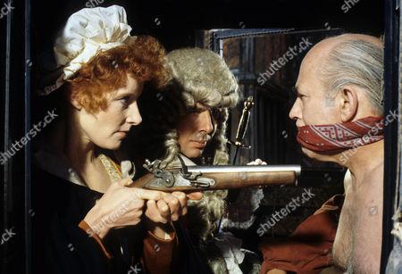 'Dick Turpin' - 'The Judge' - Jo Rowbottom as Mary, Richard O'Sullivan as Dick Turpin and John Barrard as Judge Lambsfoot.