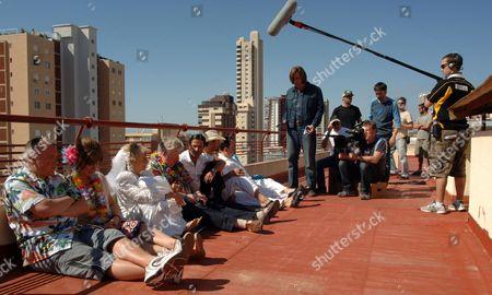 'Benidorm'  TV - 2009 - Behind the scenes, filming. Steve Pemberton, Siobhan Finneran, Sheila Reid, Kenny Ireland, Jack Canuso, Paul Bazley, Hugh Sachs.