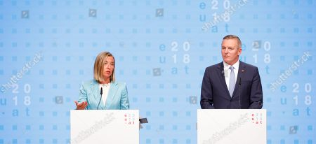 Austrian Defense Minister Mario Kunasek (R) and high Representative of the European Union for Foreign Affairs and Security Policy Federica Mogherini (L) speak during a press conference at the informal meeting of European Union defense ministers at the Austria Center Vienna (ACV) in Vienna, Austria, 30 August 2018. Austria hosts a two-day informal meeting of EU defence ministers in Vienna on 30 and 31 August. Austria took over its third Presidency of the European Council from July 2018 until December 2018.