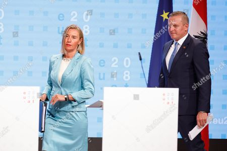 Austrian Defense Minister Mario Kunasek (R) and high Representative of the European Union for Foreign Affairs and Security Policy Federica Mogherini (L) attend a press conference at the informal meeting of European Union defense ministers at the Austria Center Vienna (ACV) in Vienna, Austria, 30 August 2018. Austria hosts a two-day informal meeting of EU defence ministers in Vienna on 30 and 31 August. Austria took over its third Presidency of the European Council from July 2018 until December 2018.