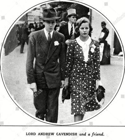 Stock Image of Lord Andrew Cavendish Pictured with A Woman Described As 'A Friend ' in Fact Deborah Freeman Mitford His Future Wife. Andrew Robert Buxton Cavendish 11th Duke of Devonshire (1920-2004) Aristocrat and Landowner Was Second Son of the 10th Duke of Devonshire. Together with His Wife Deborah Mitford He Was Responsible For Restoring Chatsworth House to Its Former Glories. Unattributed Photograph in the Sketch, 5 July 1939