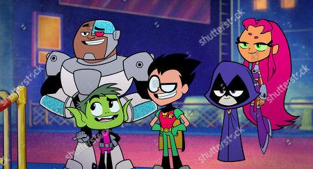 Cyborg (Khary Payton), Beast Boy (Greg Cipes), Robin (Scott Menville), Raven (Tara Strong), Starfire (Hynden Walch)