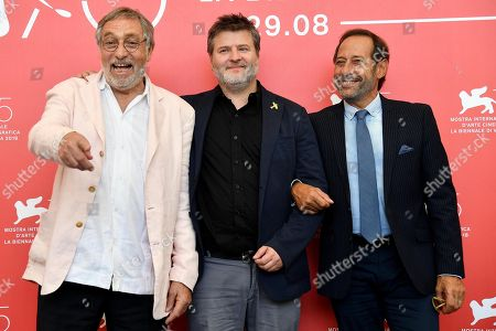 Argentinian director Gaston Duprat (C) poses with Argentinian actors Guillermo Francella (R) and Luis Brandoni (L) during a photocall for 'Mi Obra Maestra' at the 75th annual Venice International Film Festival, in Venice, Italy, 30 August 2018. The movie is presented out of competition at the festival running from 29 August to 08 September.
