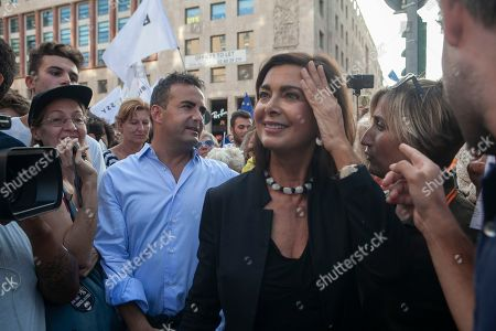 Former President of the Chamber of Deputies of Italy Laura Boldrini seen during the protest.
