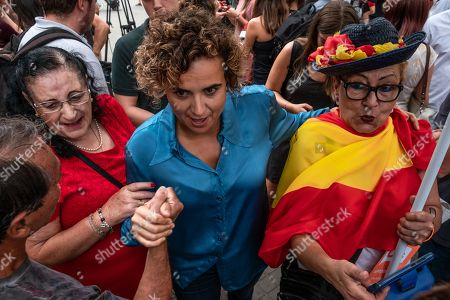 Dolors Montserrat, spokeswoman for the Popular Party, is seen during the Spanish unionists' rally.