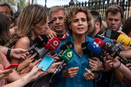 The spokeswoman of the Popular Party in the Spanish parliament, Dolors Montserrat is seen doing a press conference.