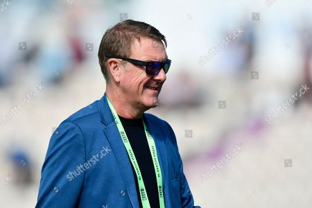 Stock Image of BBC Test Match Special commentator Phil Tufnell during the first day of the 4th SpecSavers International Test Match 2018 match between England and India at the Ageas Bowl, Southampton