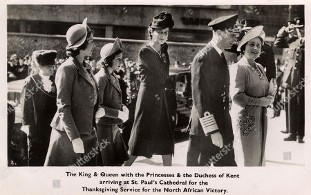 Ww2 - Thanksgiving Service For Victory in North Africa - the Royal Family Arrive at St. Paul's Cathedral. King George Vi is Accompanied by Queen Eizabeth Princess Elizabeth Princess Margaret and Princess Marina the Duchess of Kent (see: Also 11768203 and 11768204). Photochrom Postcard