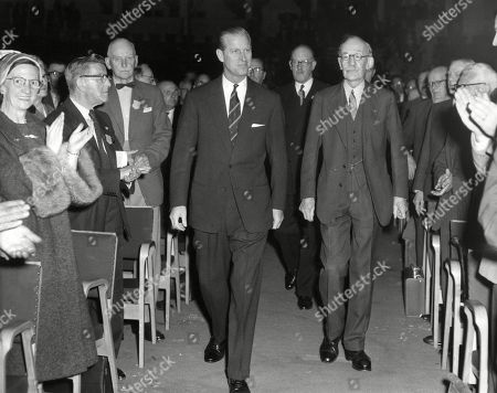 Prince Philip Duke of Edinburgh Pictured with Major-general Richard Howard-vyse President of the British Legion Arriving at the Albert Hall For the Legion's Annual Conference in the Year of Its 40th Anniversary. Unattributed Original Photograph in the Illustrated London News Archive