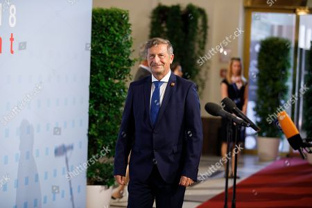 Slovenian Foreign Minister Karl Erjavec arrives for the informal meeting of European Union foreign affairs ministers at the Hofburg Palace in Vienna, Austria 30 August 2018. Austria hosts a two-day informal meeting of foreign affairs ministers in Vienna on 30 and 31 August. Austria took over its third Presidency of the European Council from July 2018 until December 2018.