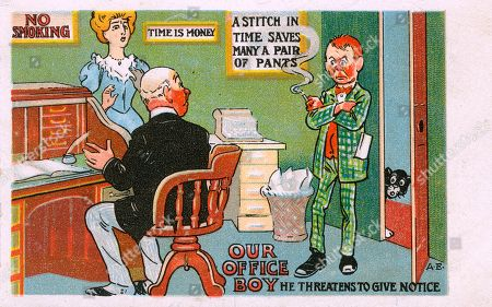 Office Boy Burns His Bridges (disobeying Every Commandment On His Behaviour in Sight) and Threatens to Give Notice to His (rather Surprised) Boss!. Illustration by A. E. On A Postcard