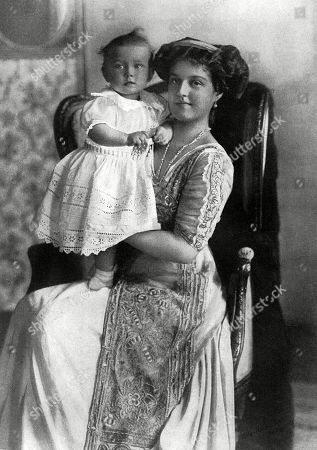 Grand Duchess Maria Pavlovna of Russia Known As 'Maria Pavlovna the Younger' (1890-1958) Grand Daughter of Emperor Alexander Ii of Russia and A First Cousin of Nicholas Ii Russia's Last Tsar. Pictured with Her Son Prince Lennart. Her Early Life Was Marked by the Death of Her Mother and Her Father's Banishment From Russia When He Remarried A Commoner in 1902. Grand Duchess Maria and Her Younger Brother Dimtri to Whom She Remained Very Close Throughout Her Life Were Raised in Moscow by Their Uncle Grand Duke Sergei Alexandrovich and His Wife Grand Duchess Elizabeth Feodorovna of Russia A Granddaughter of Queen Victoria. in 1908 Maria Pavlvova Married Prince Wilhelm of Sweden Duke of Södermanland. the Couple Had Only One Son Prince Lennart Duke of Småland Later Count Bernadotte Af Wisborg. the Marriage Was Unhappy and Ended in Divorce in 1914. . Unattributed Photograph in the Tatler, 3 August 1910