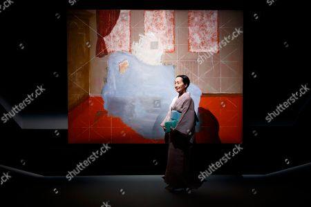Setsuko Klossowska de Rola, widow of painter Balthus, poses in the 'Balthus Unfinished' exhibition conceived by US stage director Robert Wilson in the 'Plateforme 10' construction site that will regroup the Musee cantonal des Beaux-arts (mcb-a), the Musee de l?Elysee and the MUDAC in Lausanne, Switzerland, 30 August 2018. The exhibition puts on display unfinished artworks by Polish-French artist Balthasar Klossowski de Rolam, known as Balthus.
