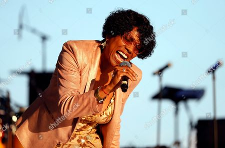 Dee Dee Bridgewater performs during a tribute concert to Aretha Franklin at Chene Park, in Detroit. Franklin died Aug. 16, 2018 of pancreatic cancer at the age of 76