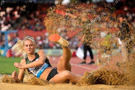 Stock Photo of Kristin Gierisch from Germany competes in the women's triple jump event of the IAAF Diamond League international athletics meeting at the Letzigrund stadium in Zurich, Switzerland, 30 August 2018.
