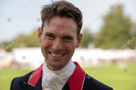 Stock Photo of Harry Meade.  The Land Rover Burghley Horse Trials. Burghley House, Stamford, Lincolnshire, Britain. 29th Aug 2018.