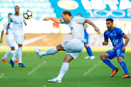 Zenit's Branislav Ivanovic (C) in action during the UEFA Europa League playoff second leg soccer match between Molde and Zenit St. Petersburg at Aker Stadium in Molde, Norway, 30 August 2018.