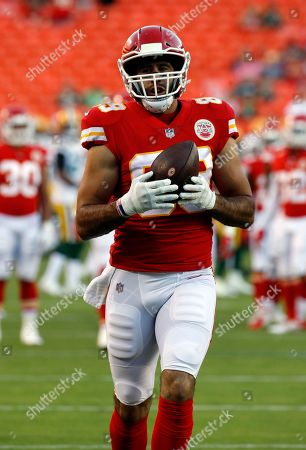 Stock Picture of Kansas City Chiefs tight end Jace Amaro (89) makes a catch before an NFL preseason football game against the Green Bay Packers in Kansas City, Mo