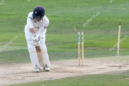 Jimmy Adams of Hampshire is bowled out by Sam Cook during Essex CCC vs Hampshire CCC, Specsavers County Championship Division 1 Cricket at The Cloudfm County Ground on 31st August 2018