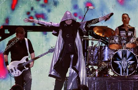 Jack Bates, Billy Corgan, Jimmy Chamberlin. From left, Jack Bates, Billy Corgan and Jimmy Chamberlin of Smashing Pumpkins perform at The Forum, in Inglewood, Calif
