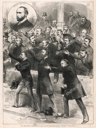 'Home Rulers' with Raised Hands Shouting 'Privilege' in the House of Commons. the Home Rule Movement Led by Charles Parnell Sought to Re-establish an Irish Parliament Responsible For Internal Affairs. Gladstone Supported Irish Home Rule But His Irish Home Rule Bill Was Defeated First by the House of Commons and Then Subsequently by the House of Lords After Three Attempts. the Illustrated London News. February 12th 1881. .