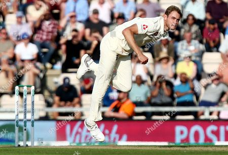 Stuart Broad of England in bowling action.