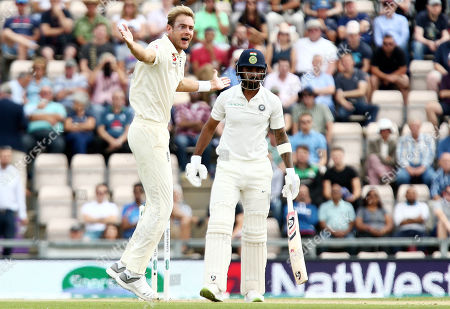 Stuart Broad of England appeals for the wicket of Lokesh Rahul of India and is given out.